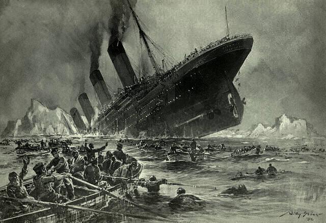 タイタニック号の沈没の様子